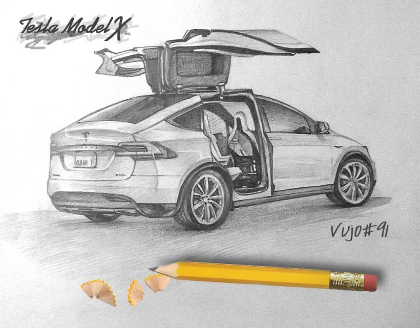 Drawing Tesla Model X Truly Impressive Carsoid