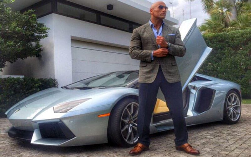 dwayne johnson has a problem to fit into modern supercars