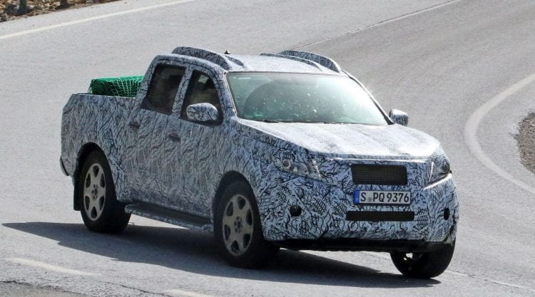 2018 Mercedes GLT spy photo shown; Source: carscoops.com